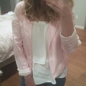 Pink & white striped jacket excellent condition